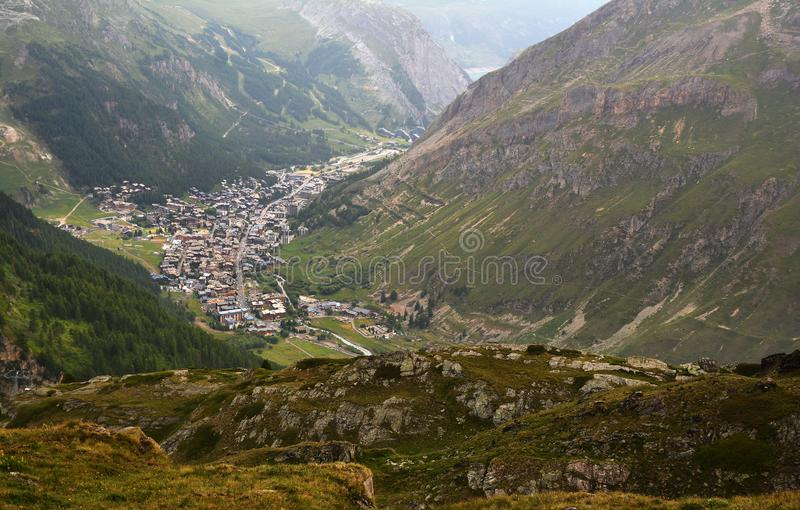 General view of Val d`Isere commune of the Tarentaise Valley in France. General view of Val d`Isere commune of the Tarentaise Valley, in the Savoie department royalty free stock image