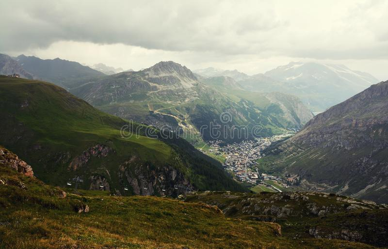 General view of Val d`Isere commune of the Tarentaise Valley in France. General view of Val d`Isere commune of the Tarentaise Valley, in the Savoie department stock image