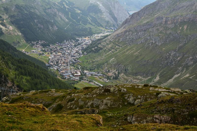 General view of Val d`Isere commune of the Tarentaise Valley in France. General view of Val d`Isere commune of the Tarentaise Valley, in the Savoie department stock photo