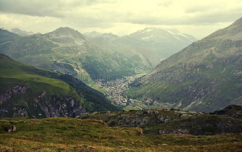 General view of Val d`Isere commune of the Tarentaise Valley in France. General view of Val d`Isere commune of the Tarentaise Valley, in the Savoie department royalty free stock images