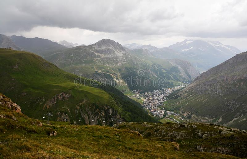 General view of Val d`Isere commune of the Tarentaise Valley in France. General view of Val d`Isere commune of the Tarentaise Valley, in the Savoie department royalty free stock photography