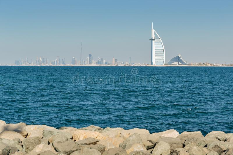 A general view of the world's first seven stars luxury hotel Burj Al Arab royalty free stock images