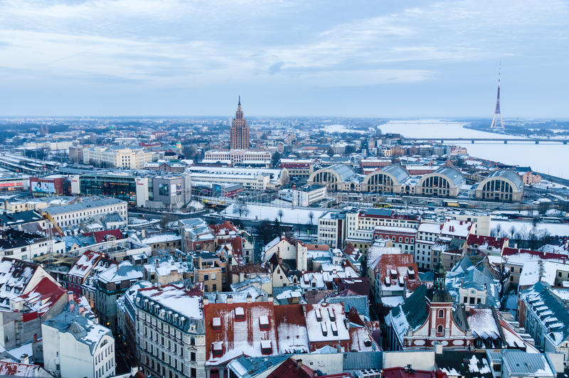 General winter-time view of Riga from above, Latvia stock photos