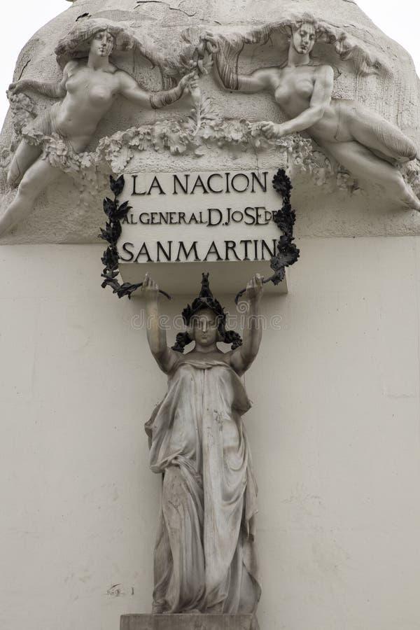 Generale Jose de San Martin Equestrian Statue a Lima, Perù fotografia stock libera da diritti