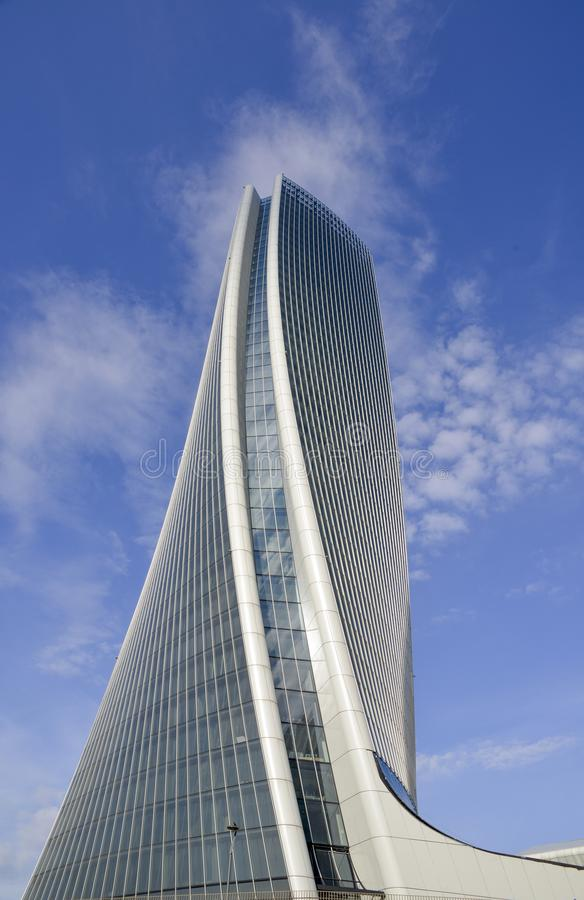 Free Generali Tower Lo Storto, The Twisted One In English Is A Skyscraper In Tre Torri, Milan, Italy With Height Of 185 M 607 Ft Stock Photos - 109343893
