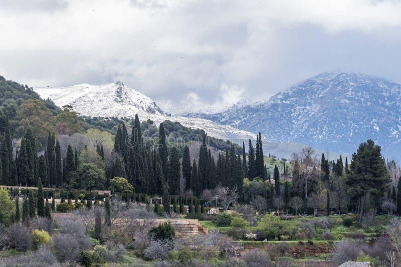 Generalife и белые горы Невады стоковое фото rf