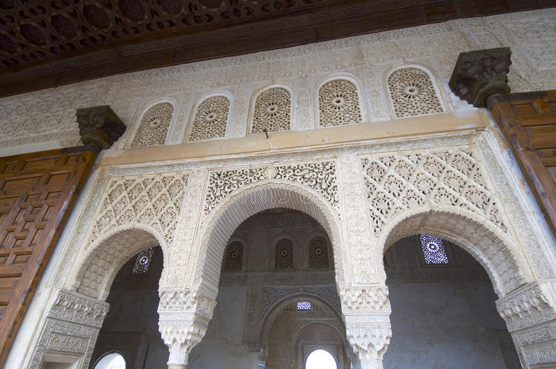 Generalife. Forefront of the portico which gives access to the royal hall, Generalife, Alhambra, Granada, Andalucia, Spain royalty free stock images