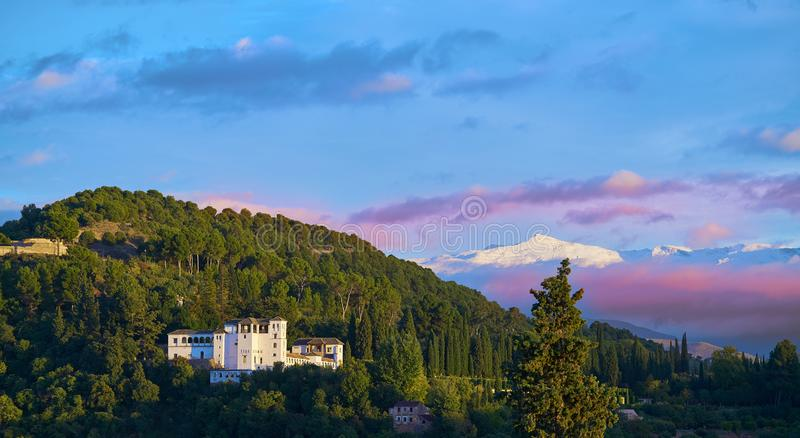 Generalife of Alahambra sunset in Granada. Of Spain view from Albaicin stock image