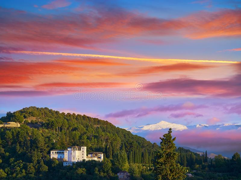 Generalife of Alahambra sunset in Granada. Of Spain view from Albaicin royalty free stock photography