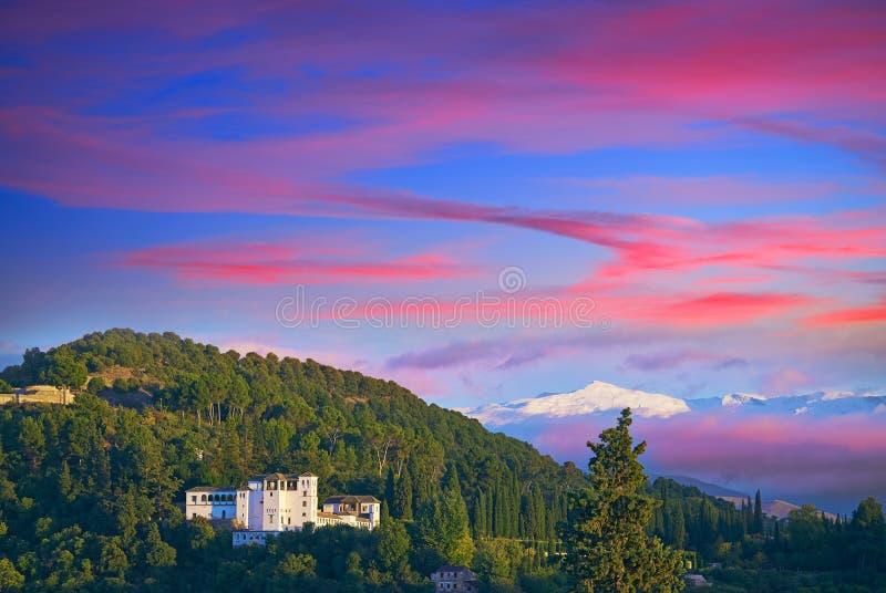 Generalife of Alahambra sunset in Granada. Of Spain view from Albaicin royalty free stock images