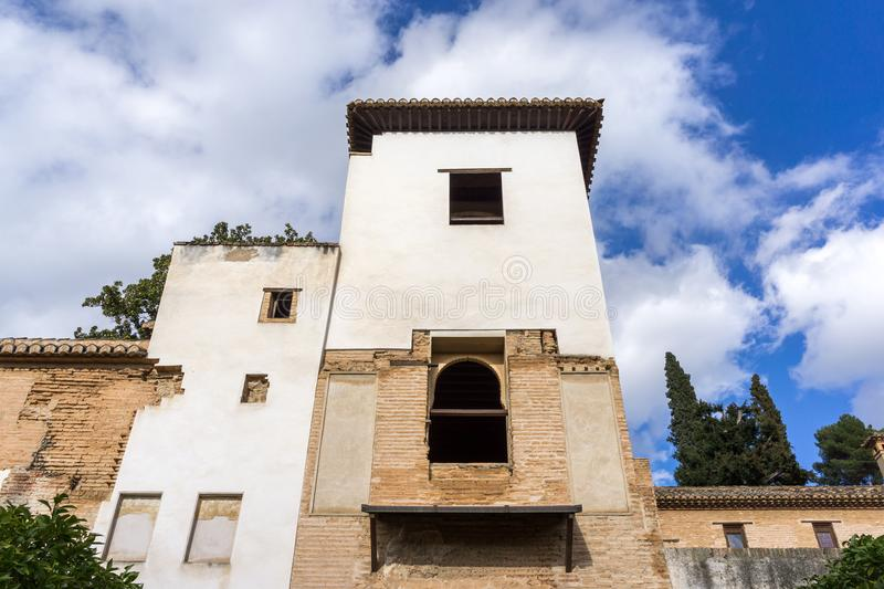 Generalife mansion exterior. View from the garden area. Alhambra palace, Spain royalty free stock photo