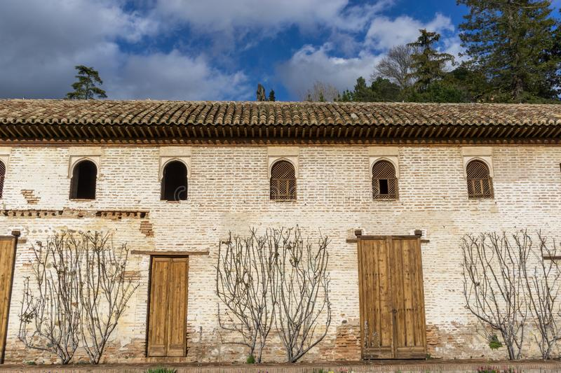 Generalife mansion exterior. View from the garden area. Alhambra palace, Spain stock images
