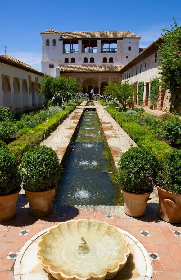 Generalife palace cortyard, Granada, Spain royalty free stock photo