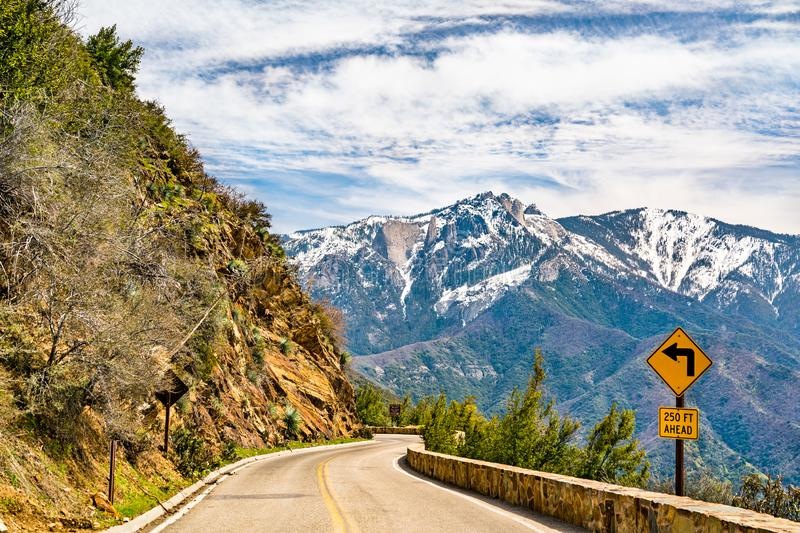 Generals Hwy within Sequoia National Park in California royalty free stock photo