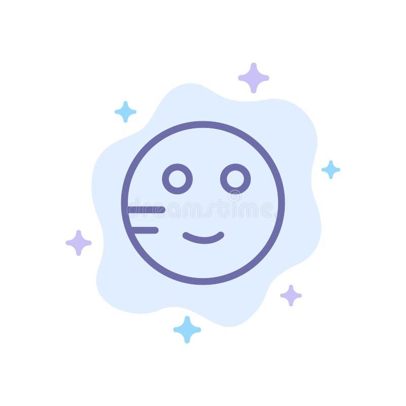 Generat Emojis, skola, blå symbol för studie på abstrakt molnbakgrund royaltyfri illustrationer