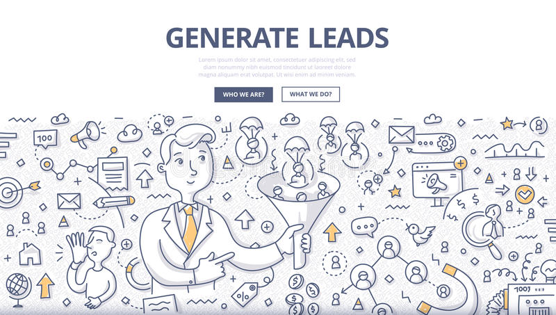Generate Leads Doodle Concept royalty free illustration