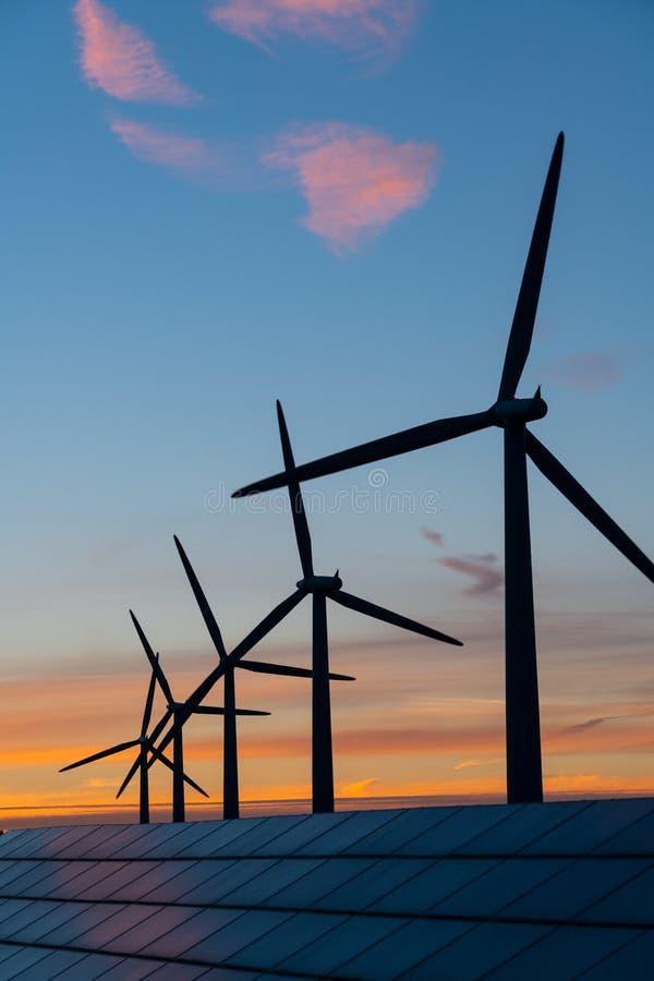 Generaters för energi för vindturbin på vindlantgård på solnedgången royaltyfri fotografi