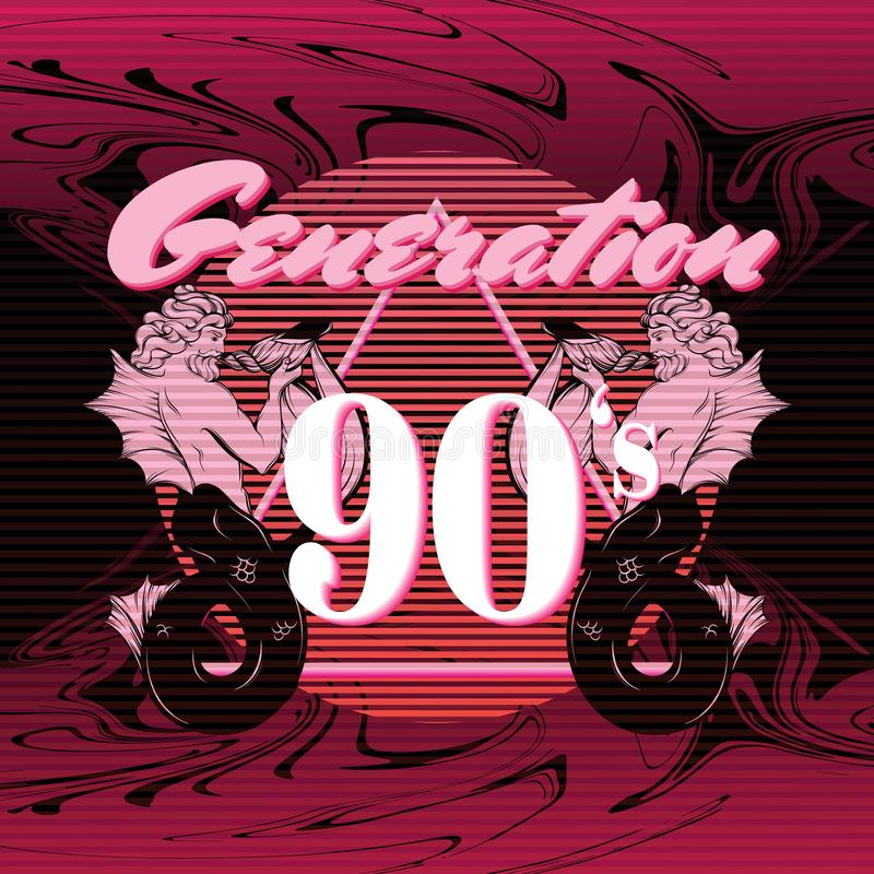 Generatie 90 ` s Vectoraffiche met hand getrokken die illustratie van triron in vaporwavestijl wordt gemaakt royalty-vrije illustratie