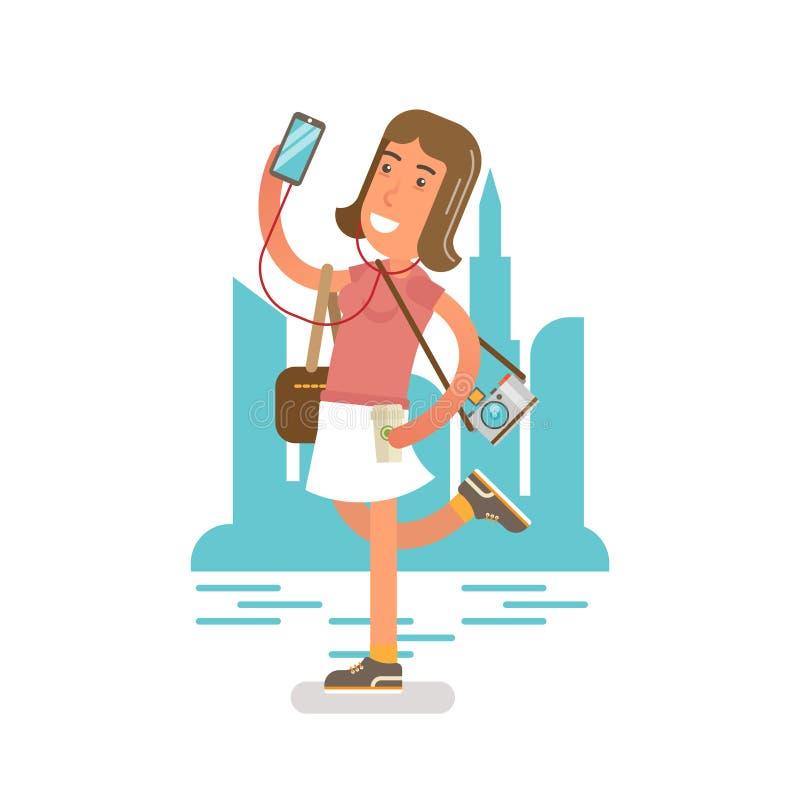 Generatie Y, Millennial in cityscape met telefoon en oortelefoons stock illustratie