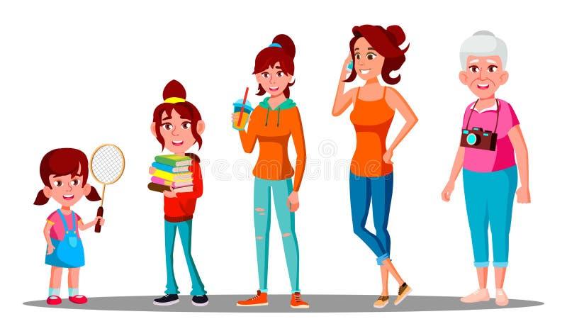 Generatiewijfje - Grootmoeder, Moeder, Dochter, Kleindochtervector Geïsoleerdeo illustratie royalty-vrije illustratie