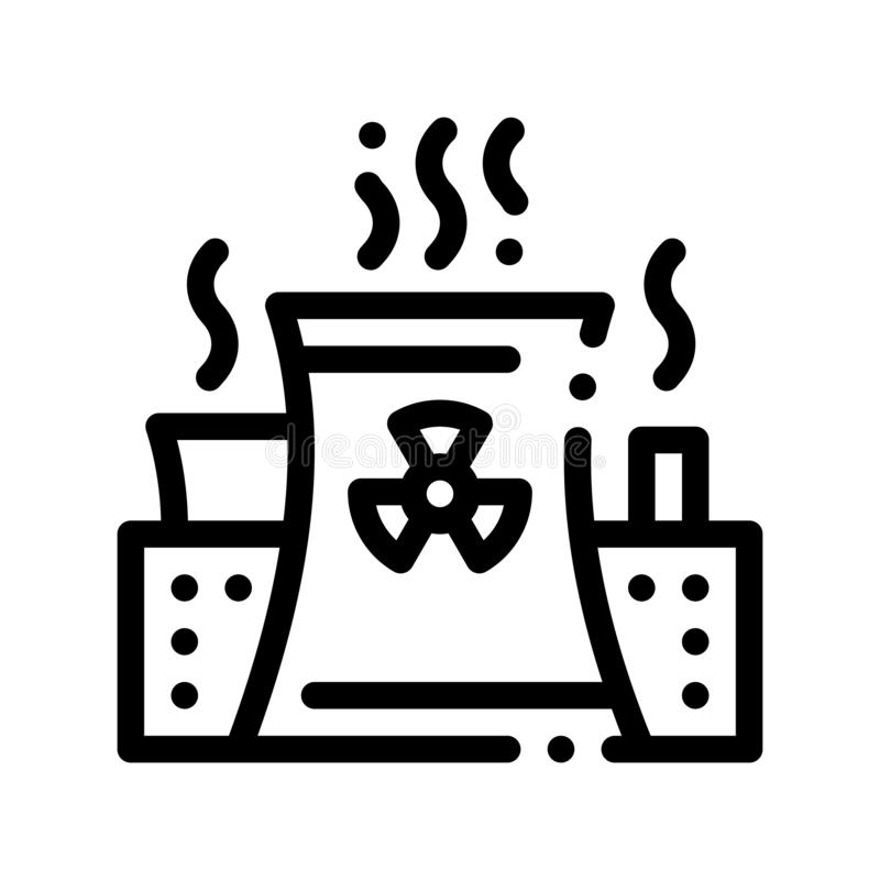 Generating Atomic Plant Vector Thin Line Icon. Nuclear Atomic Facility Environmental Pollution, Chemical, Radiological Contamination Linear Pictogram. Dirty stock illustration