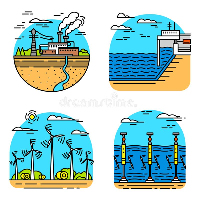 Generating energy. Power plants icons. Industrial buildings. Set of Ecological sources of electricity. royalty free illustration