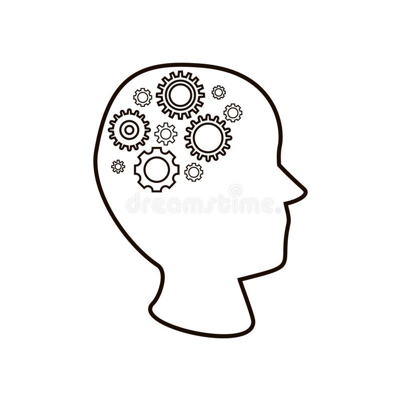 Generating ideas, finding solutions. Head with gear, brain from cogs stock illustration