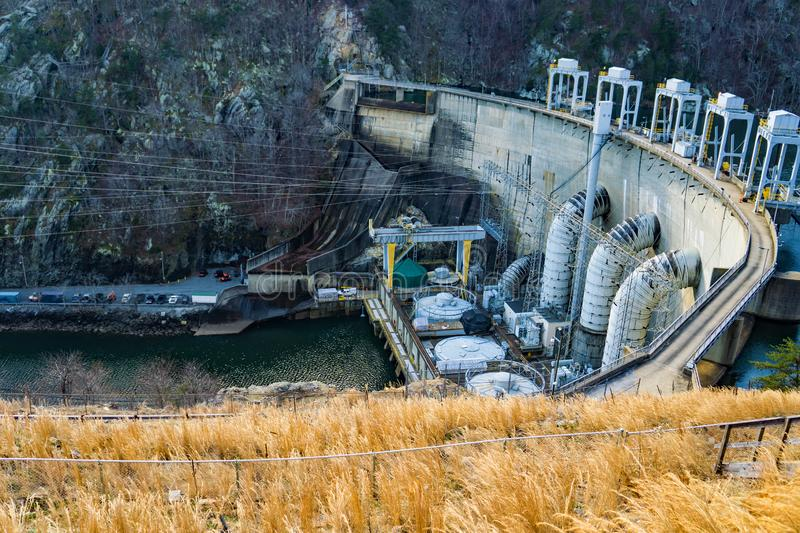 The Generating Units at Smith Mountain Hydroelectric Dam. Sandy Level, VA – January 8th:the power generating units at Smith Mountain Hydroelectric Dam royalty free stock photos