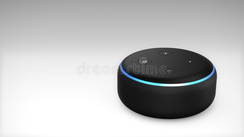 3. Generation Amazonas Alexa Echo Dot stock abbildung