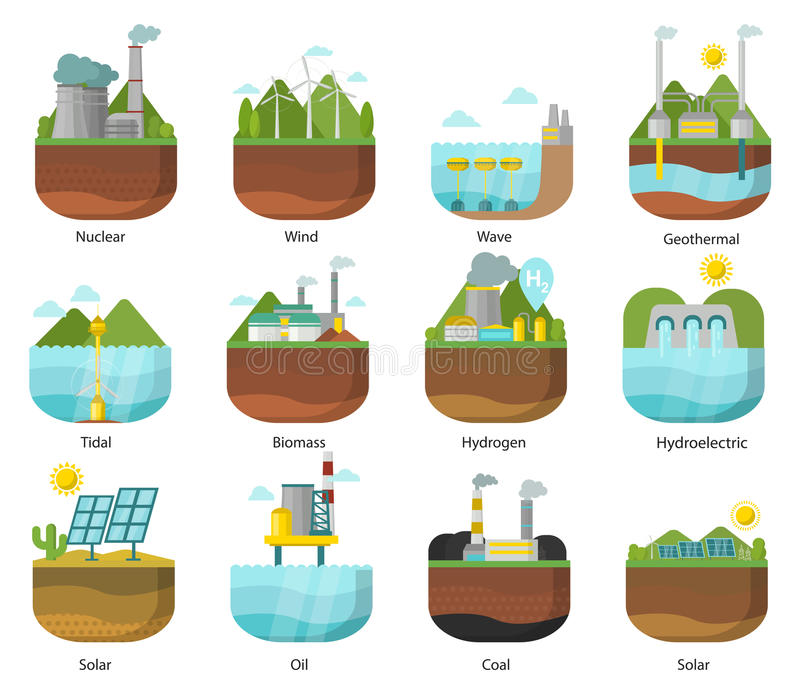Generation energy types power plant icons vector renewable alternative solar wave illustration royalty free illustration