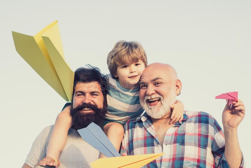 Generation. Father and son with grandfather - happy loving family. stock photography