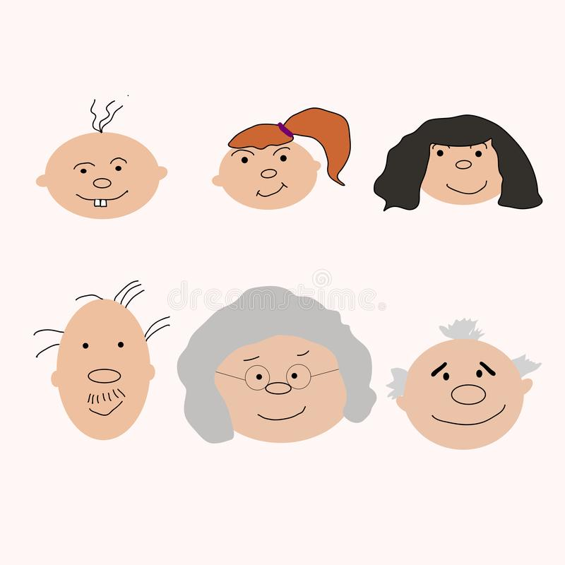 Generation growing up. People of all ages period. vector illustration