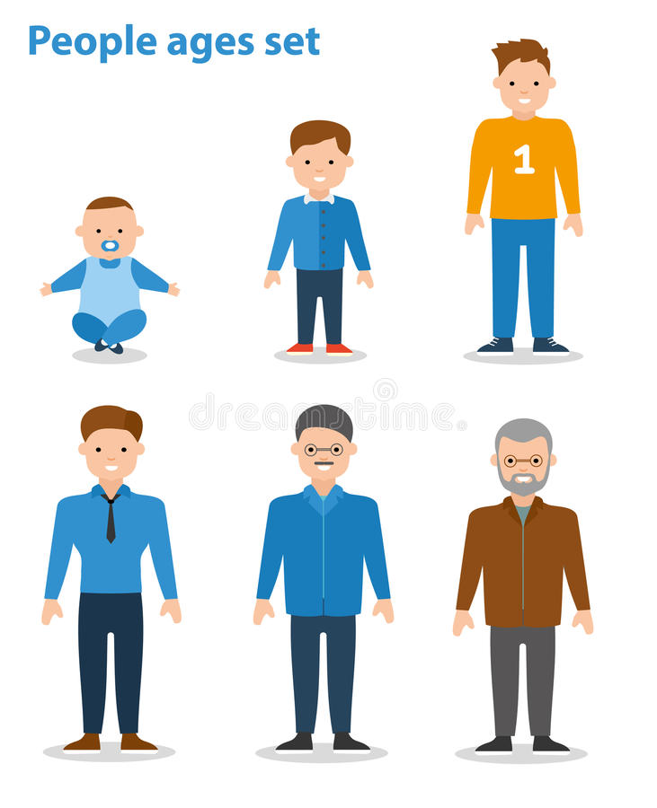 Generation Of Men From Young Infant To Old Senior Age. Flat illustration. Generation Of Men From Young Infant To Old Senior Age. Male aging - baby, child royalty free illustration