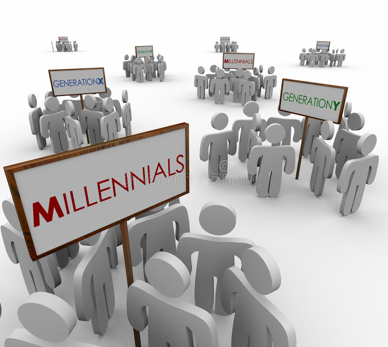 Free Generation X Y Millennials Young People Groups Demographic Markets Stock Photography - 50677742