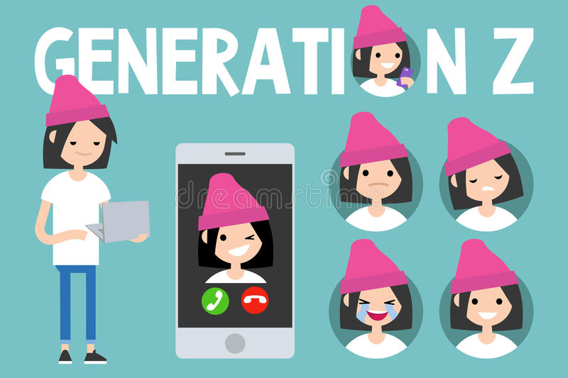 Generation Z conceptual set. sign, full length millennial girl. Character holding laptop, smartphone and 4 icons with different emotions royalty free illustration
