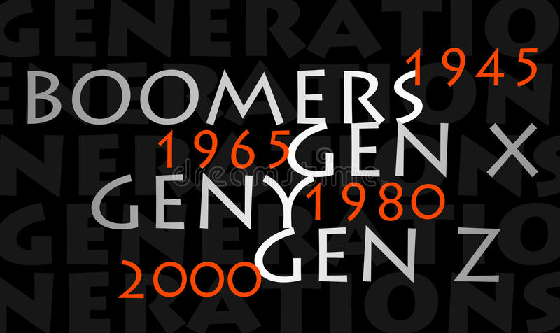 Generations. Different generations are their year of birth stock illustration