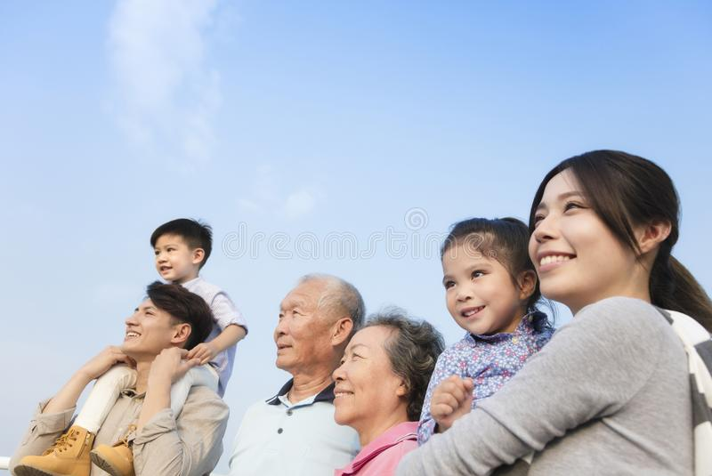 Generations family having fun together outdoors. Three generations family having fun together outdoors stock images