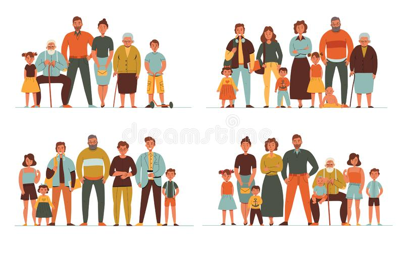 Generations Flat 2x2 Set. Colorful flat 2x2 set with different generations of people parents grandparents children isolated vector illustration royalty free illustration