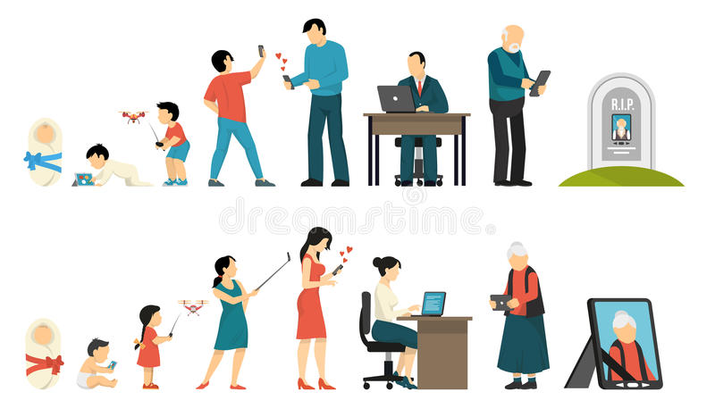 Generations And Gadgets Composition vector illustration