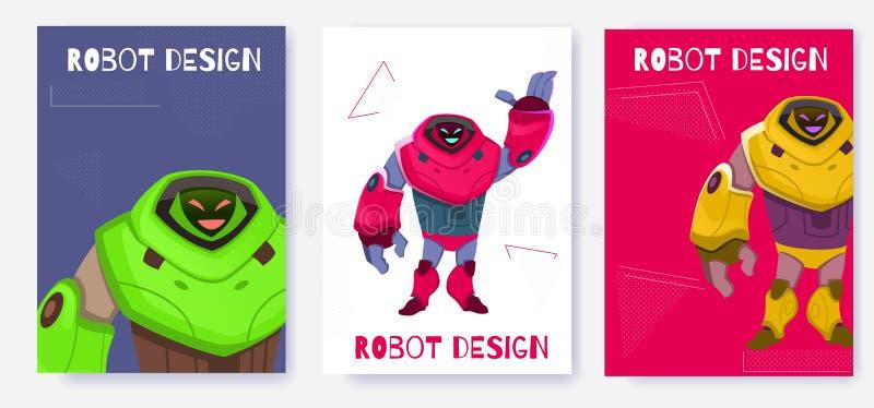 Generations-Roboter-Karten-Entwurfs-Karikatur-Vektor stock abbildung