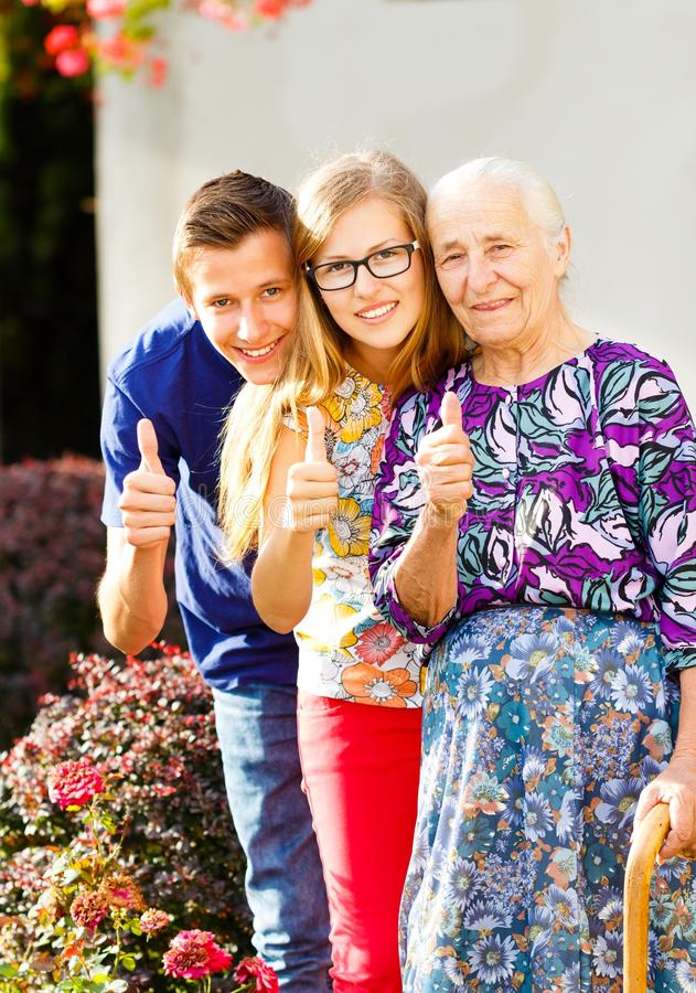 Generations Thumbs Up stock photos