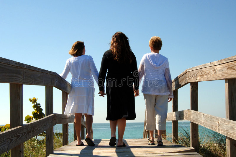 Generations of women boardwalk. Three women of different generations holding hands walking along boardwalk at beach royalty free stock photography