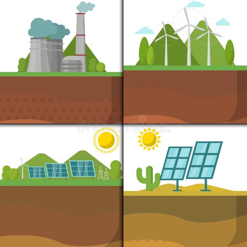 Generationsenergie schreibt Kraftwerkvektor die auswechselbare alternative Solar- und Gezeiten- Quelle, Wind und geothermisches,  lizenzfreie abbildung