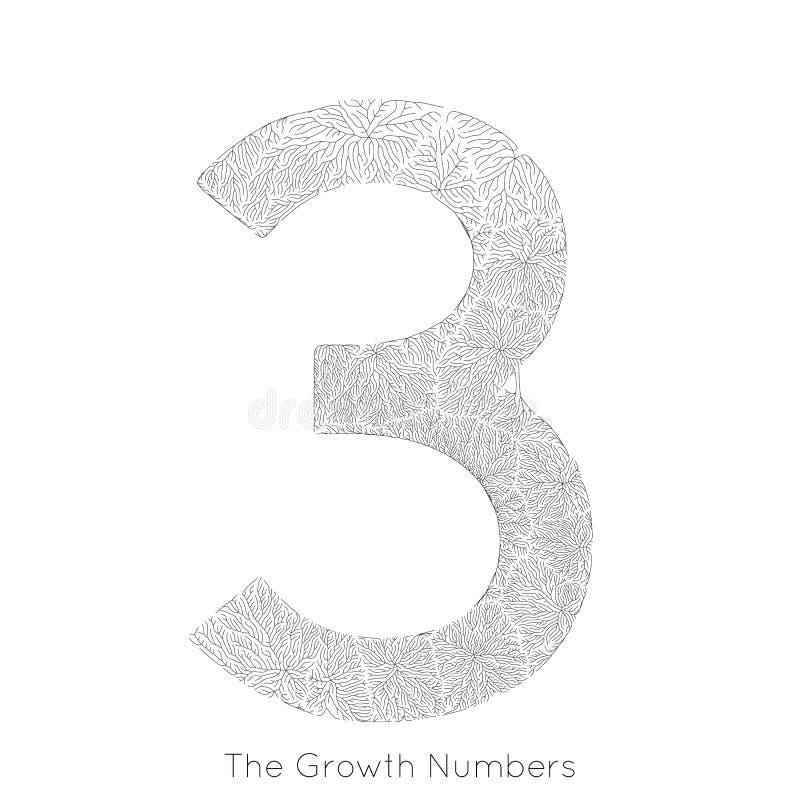 Generativ filialtillväxt nummer 3 för vektor Lav som den organiska strukturen med form för åderformnummer Monocrome stock illustrationer