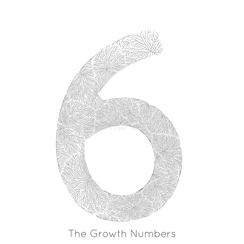 Generativ filialtillväxt nummer 6 för vektor Lav som den organiska strukturen med form för åderformnummer Monocrome royaltyfri illustrationer