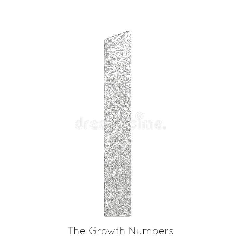 Generativ filialtillväxt nummer 1 för vektor Lav som den organiska strukturen med form för åderformnummer Monocrome royaltyfri illustrationer