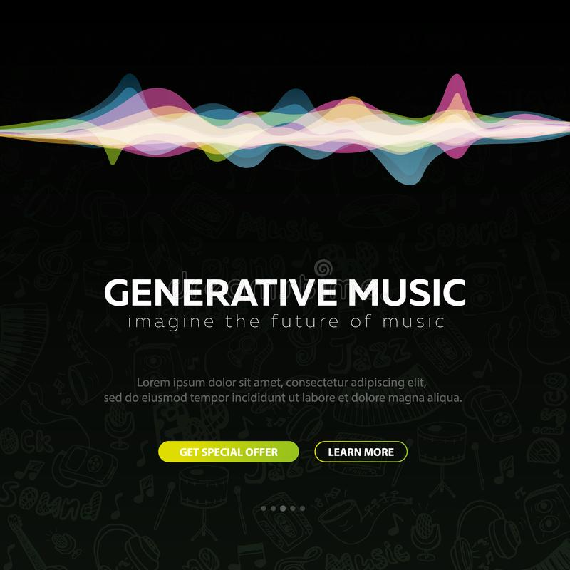 Generativ musik Musik som skapas av AI ocks? vektor f?r coreldrawillustration royaltyfri illustrationer