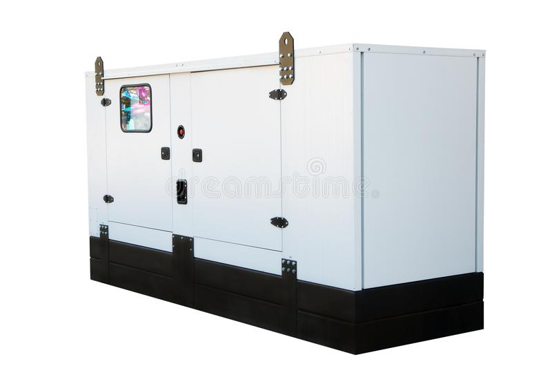 Generator for emergency electric power. Isolated on white background. stock image