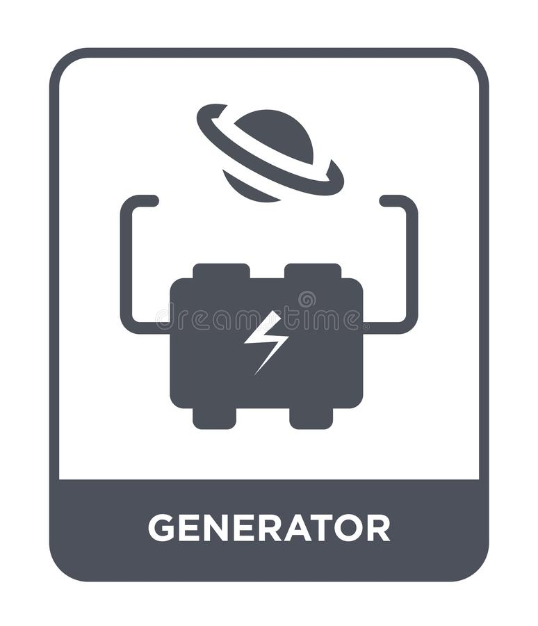 Generator icon in trendy design style. generator icon isolated on white background. generator vector icon simple and modern flat. Symbol for web site, mobile stock illustration