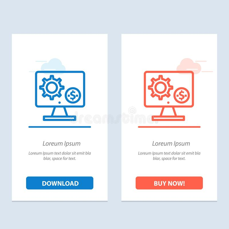 Generator, Monitor, Screen, Setting, Gear, Money  Blue and Red Download and Buy Now web Widget Card Template stock illustration